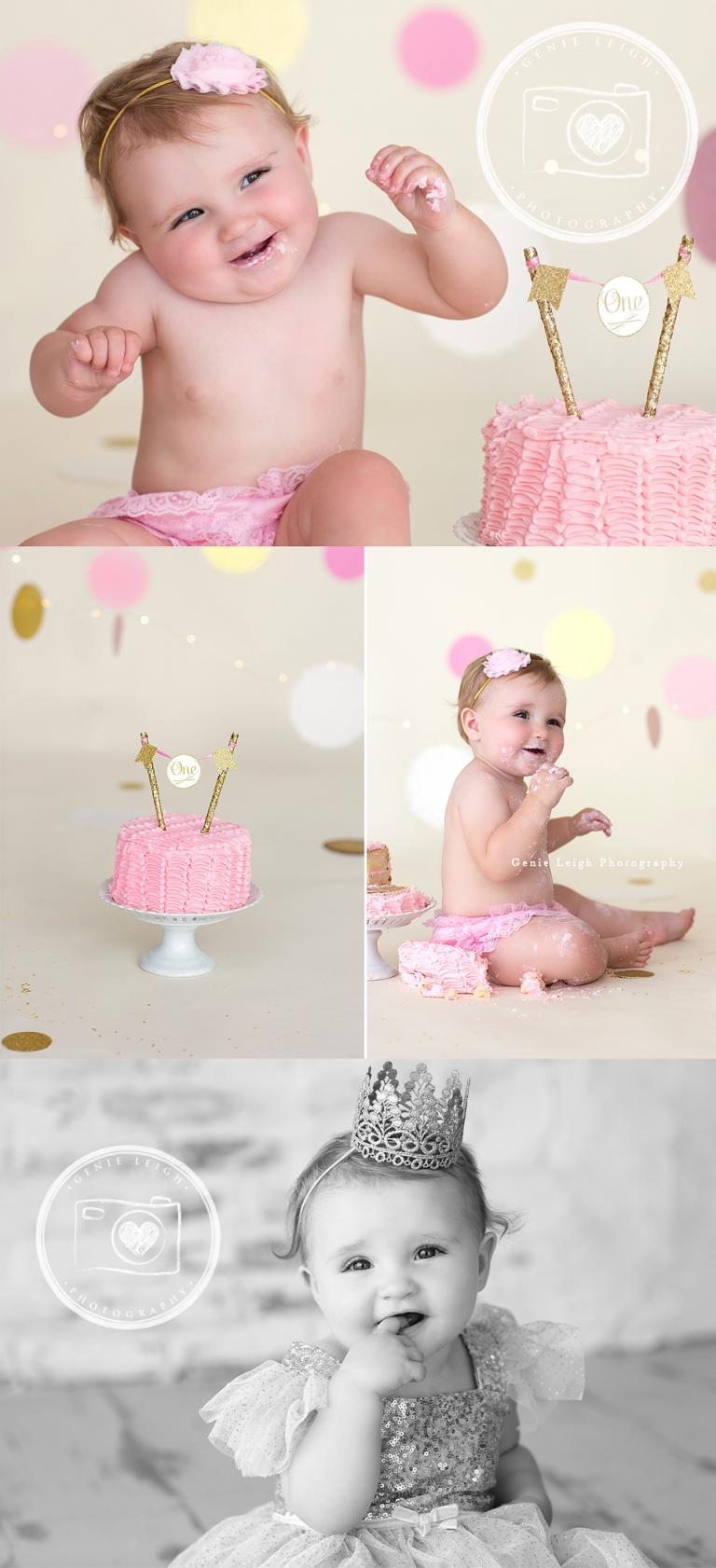 Genie Leigh Photography Cake Smash Baby GIrl Pink & Gold Glitter Studio