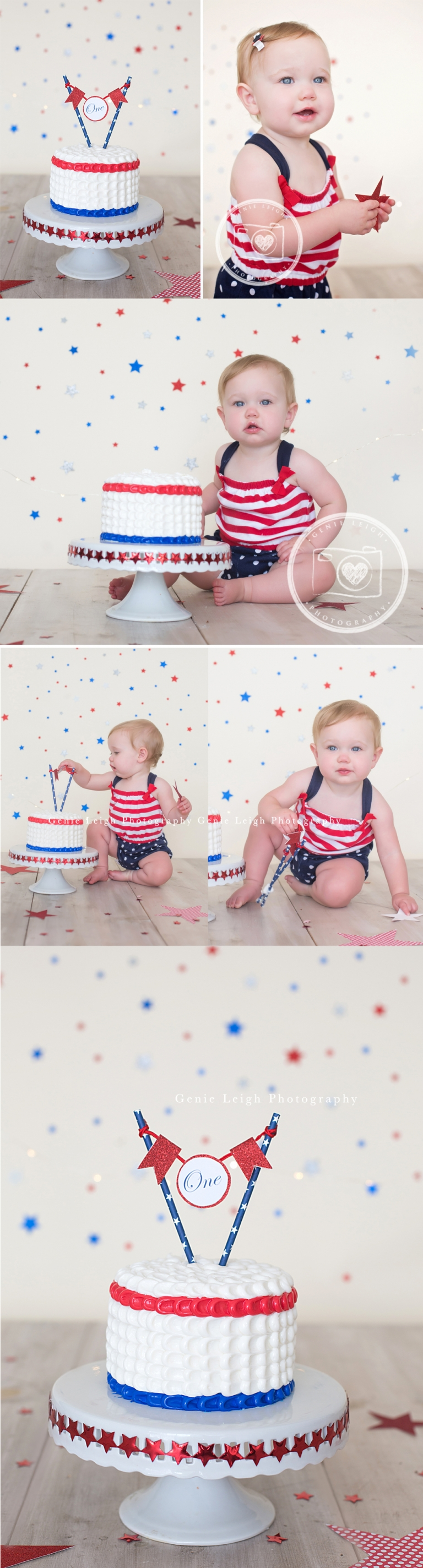 4th of July Cake Smash Genie Leigh Photography