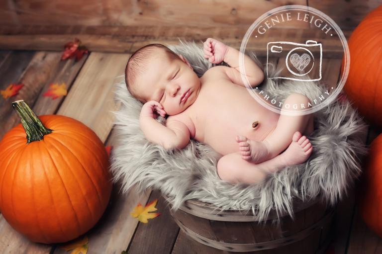 Genie Leigh Photography newborn Baby Fall Pumpkins leaves