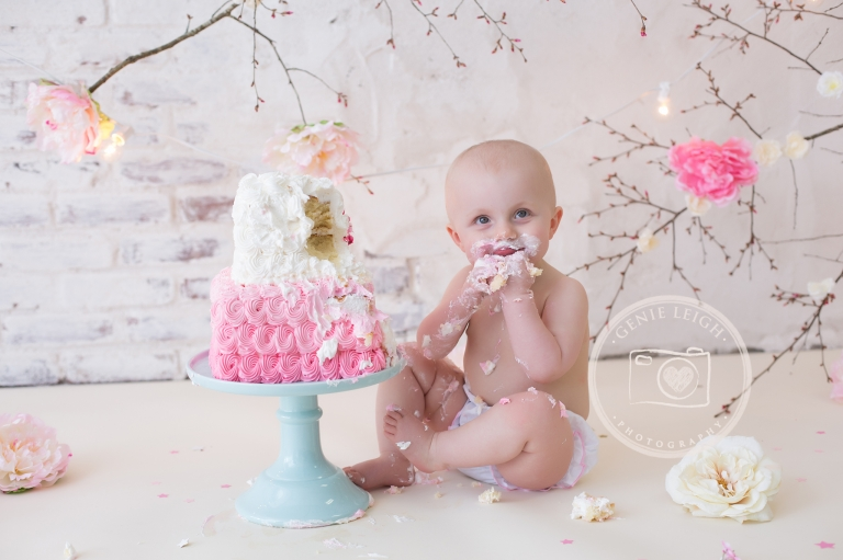 Spring Time Cake Smash Birthday Session Genie Leigh Photography