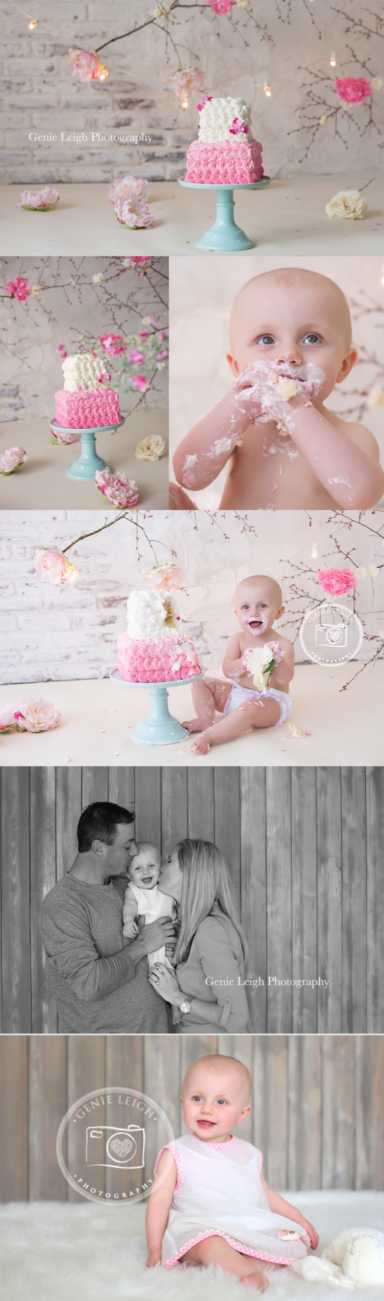 Spring time cake smash session, Genie Leigh Photography, Shallot, NC Studio, Wilmington NC, Baby Birthday, Studio Session, Cherry Blossom Cake