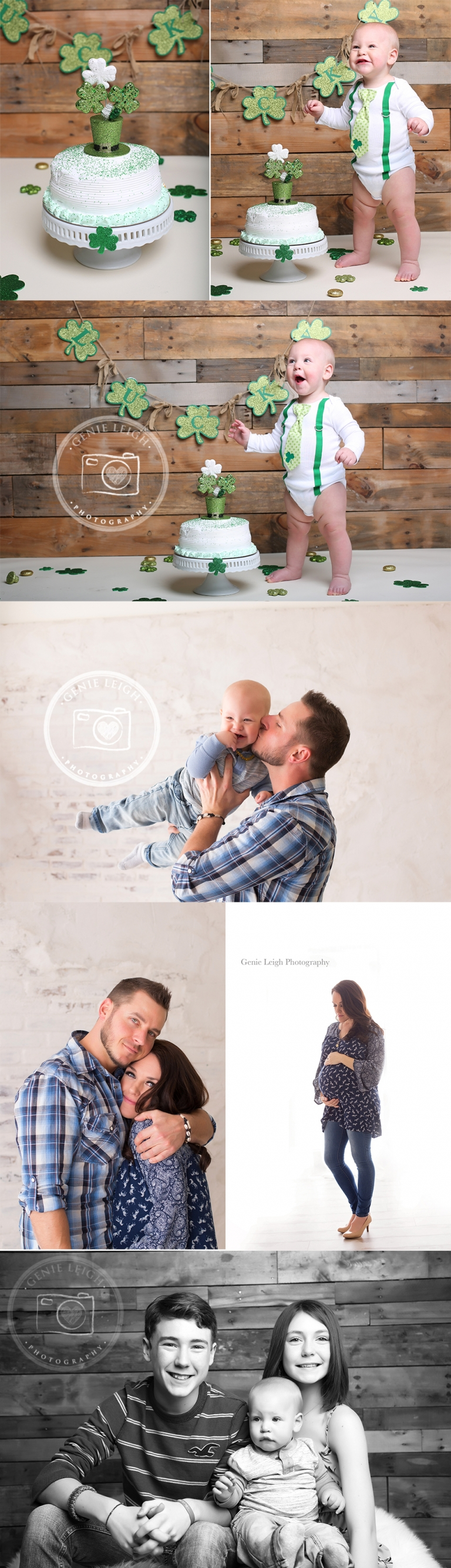 St. Patricks Day Cake Smash. Photography, Set up, Backdrop, Green, Genie Leigh Photography, Wilmington, NC, Shallotte, NC