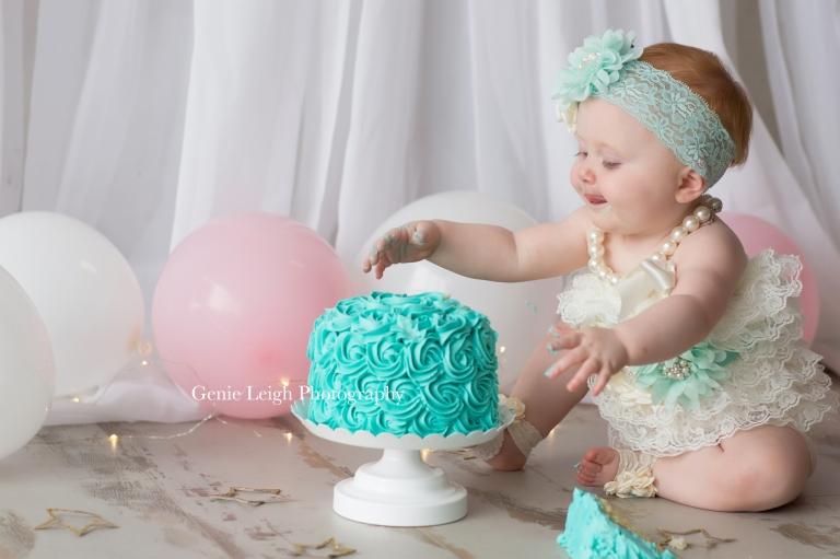 Cake Smash, Shabby Chic, Aqua, Baby Birthday Cake Smash